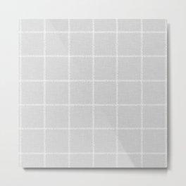 French Grey Linen Check Metal Print