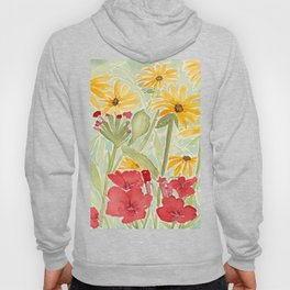 Sunny Yellow Rudbekia and Red Petunias in the Garden Watercolor Flowers Hoody