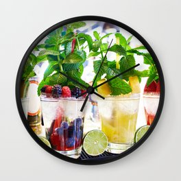Fruit and berry cocktails with mint in cafe Wall Clock