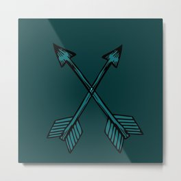 Crossed Arrows in Teal Metal Print