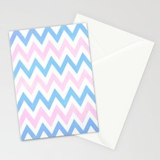 Blue pink Chevron Pattern Stationery Cards
