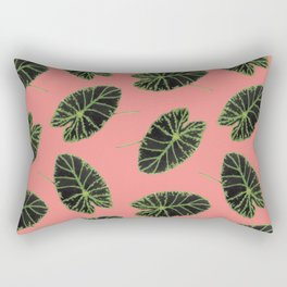 Floral Fern Lilypad Toss in Salmon Rectangular Pillow