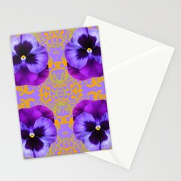 FOUR  PURPLE PANSIES ON LILAC  BROCADE GARDEN Stationery Cards