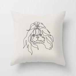 One line Shih Tzu Throw Pillow