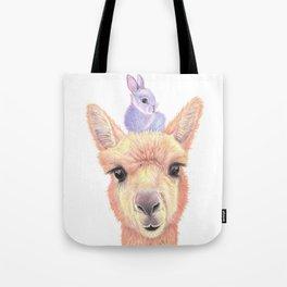 Orange Alpaca and Purple Bunny Tote Bag