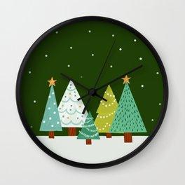 Holly Jolly Christmas Trees - Green Wall Clock