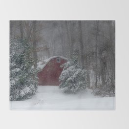 Red Barn in the Snow 2013 Throw Blanket