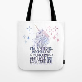 I am a strong independent unicorn - The lightning struck heart Tote Bag