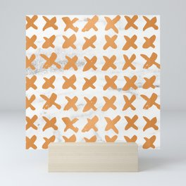 X Cross Love Marble Bronze Copper Gold Mini Art Print
