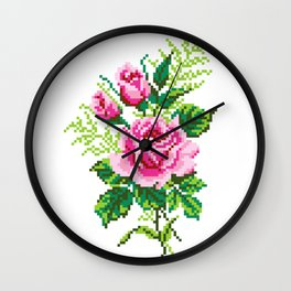Pixel Rose Wall Clock
