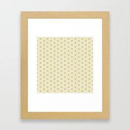 Flower of Life Pattern – Gold & White Framed Art Print