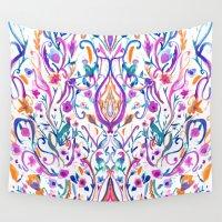 folk Wall Tapestries featuring Folk Paradise by Nikkistrange