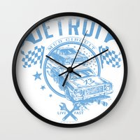 detroit Wall Clocks featuring Detroit by Tshirt-Factory