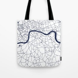 London White on Navy Street Map Tote Bag
