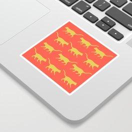 Orange background and yellow cat pattern Sticker