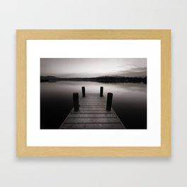 Wooden jetty on lake Windermere Framed Art Print