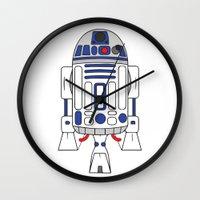 r2d2 Wall Clocks featuring R2D2 by Gyunjoo Kim