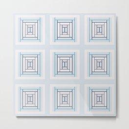 Modern Life Mauve Blue (large pattern) Metal Print