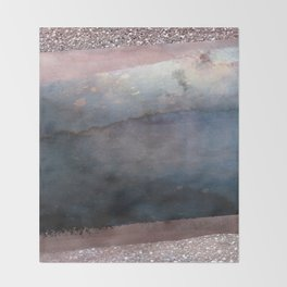 Rose Gold Blush Pink & Blue Watercolor Throw Blanket