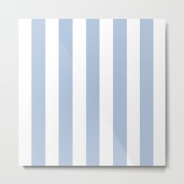 Light steel blue - solid color - white vertical lines pattern Metal Print