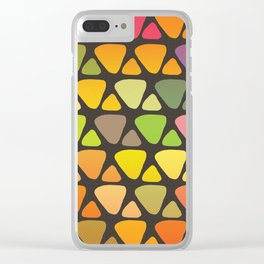 Bright colorful abstract triangles retro pattern Clear iPhone Case