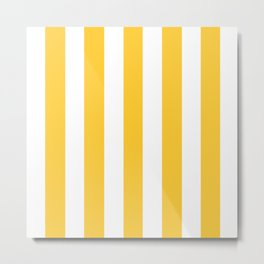 Sunglow yellow -  solid color - white vertical lines pattern Metal Print