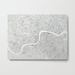 City Map London watercolor map Metal Print
