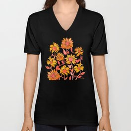 Sunflower Watercolor – Fiery Palette Unisex V-Neck
