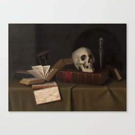 """Memento Mori, """"To This Favour"""" by William Michael Harnett Canvas Print"""