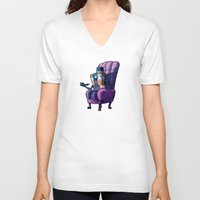 borderlands V-neck T-shirts featuring Evening Traveler : Borderlands by OneBlueWolf