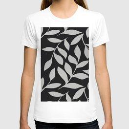 GRAY LEAVES BOUNTIFUL Gray and Black Fashion T-shirt