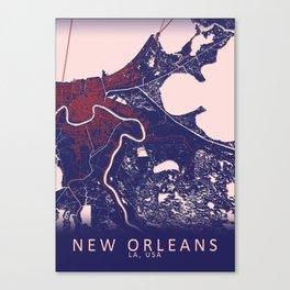 New Orleans, LA, USA, Blue, White, City, Map Canvas Print