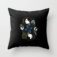 221b Throw Pillows featuring The Detective of 221B by WinterArtwork