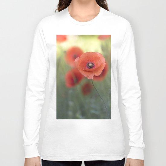 Beautiful poppy in a meadow Long Sleeve T-shirt