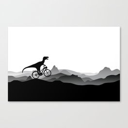 DINO Bicycle - Dinosaur on bicycle - T-rex - Dino Collection Canvas Print
