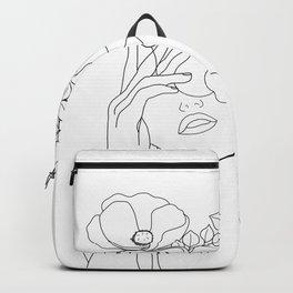 Minimal Line Art Woman with Flowers II Backpack