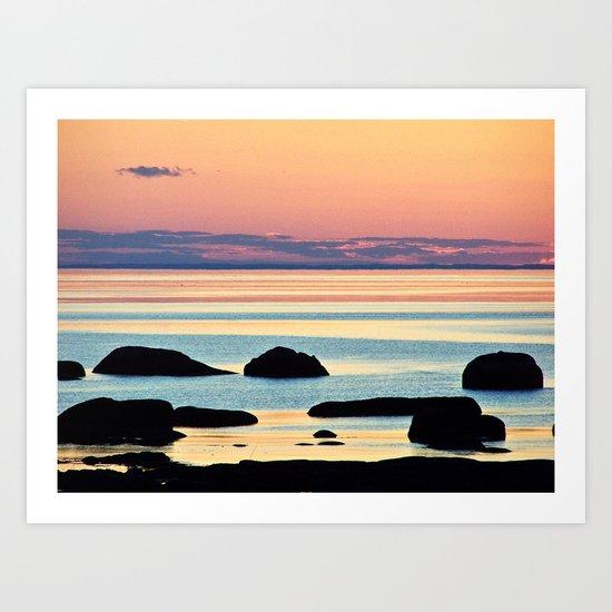 Circle of Rocks and the Sea at Dusk Art Print