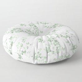 Elegant vintage green white roses shabby floral Floor Pillow