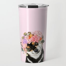 Black Shiba Inu with Flower Crown Pink Travel Mug