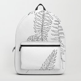 Minimal Line Art Fern Leaves Backpack