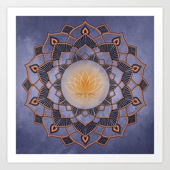 Orange Lotus Flower Mandala On A Textured Blue Background Art Print