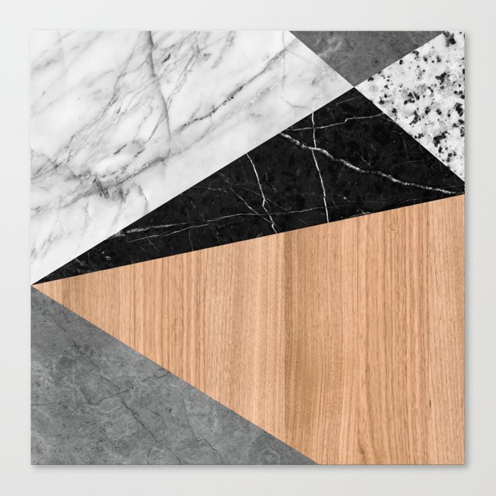 Marble, Garnite, Teak Wood Abstract Canvas Print