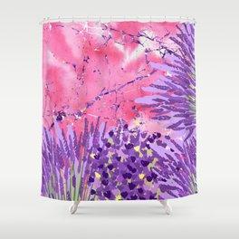 Modern violet lime green lavender pink marble floral Shower Curtain