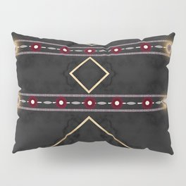 Golden Sun Mandala Ruby Flowr over BlackMarble Pillow Sham