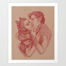 The Almost Kiss Art Print
