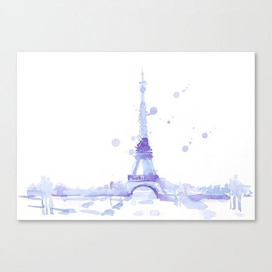 Watercolor landscape illustration_Eiffel Tower Canvas Print