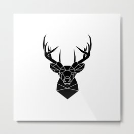 Silhouette of a Stag Dear Head Metal Print