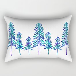 Pine Trees – Navy & Turquoise Palette Rectangular Pillow