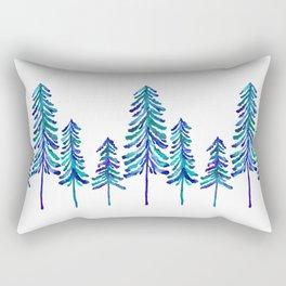 Pine Trees – Navy & Turquoise Palette Rectangular Pillow
