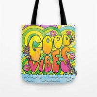 good vibes Tote Bags featuring Good Vibes by Rachel Beyer